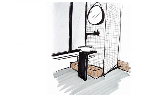 schets badkamer zolderverdieping