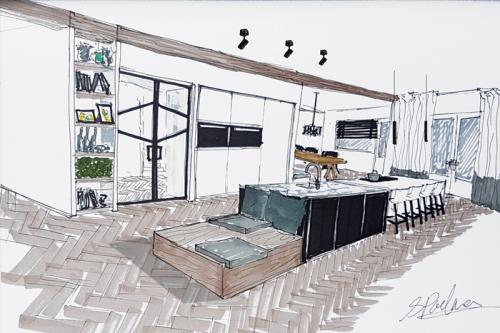schets verbouwing kantoorvilla